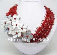 Charming !!! natural red coral shell flower necklace