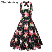 Chicanary Summer Sexy Floral Polka Dot Print Halter Vintage Dress Women Sleeveless Rockabilly Swing Retro Dresses Plus Size