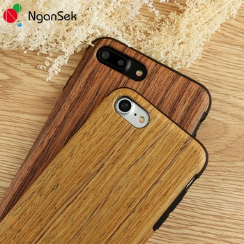 NganSek Real Wood Phone Case for iPhone 7 Plus 6 6s Phone Case Grained Wood Case for iPhone 5 5s SE Phone Cover Wooden Fone