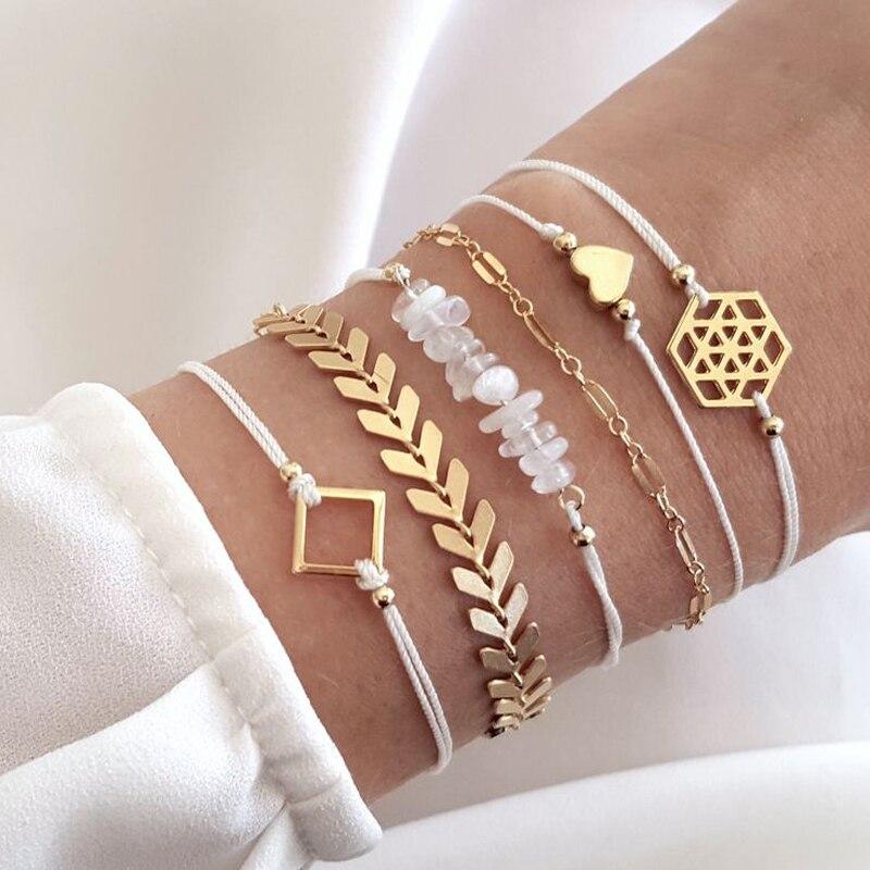 Tocona Geometric Beadeds Layered Charms Bracelets for Women Gold Color Arrow Heart Pendant Bracelets Set Party Jewelry 6792(China)