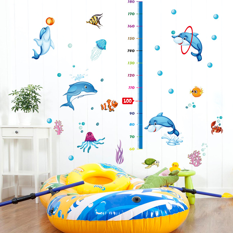 Us 7 67 Dolphin Height Measure Wall Stickers For Kids Bedroom Decoration Aquarium Octopus Turtle Cartoon Wallpaper For Bathroom In Wall Stickers