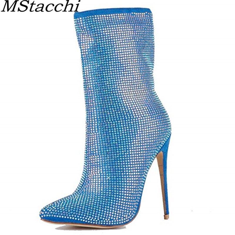 Black Tacones Desliz 2019 Bling De En Pie Mstacchi Azul Fiesta Cremallera Zapatos blue Negro Dedo Del Chic Botas Mujer Primavera Otoño Sexy Punta Tobillo 7BqwYdqP