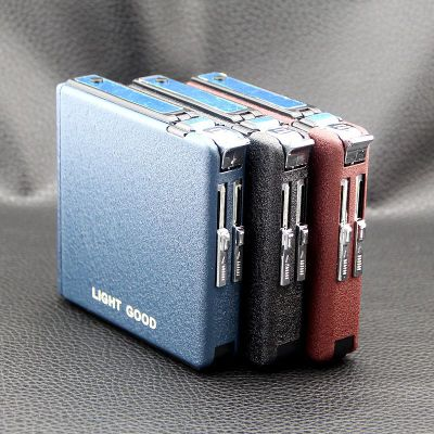 New 20pcs Automatically Metal Frosted Cigar Cigarette Box Holder Tobacco Storage Case w/ Butane Gas Torch Windproof Lighter