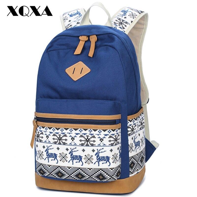 XQXA cervi stampa borsa di tela zaini scuola per ragazze adolescenti Bacpack donne casual borse a tracolla Daypack Mochila
