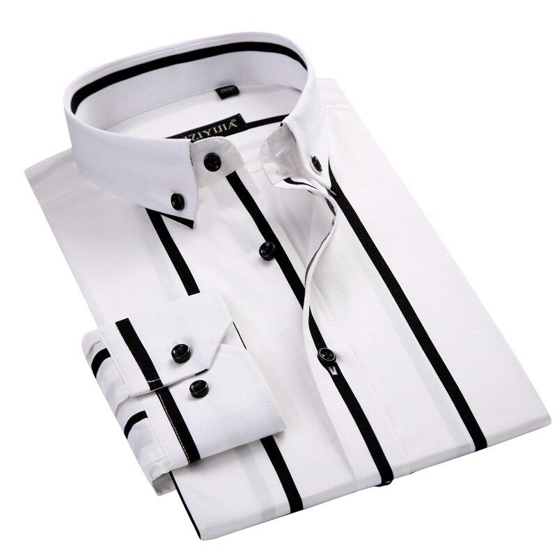 100% Baumwolle Komfortable Schwarz Streifen Weiß Farbe Business Männer Kleid Shirts Taste-unten Kragen Slim Fit Smart Casual Männer Shirts Grade Produkte Nach QualitäT