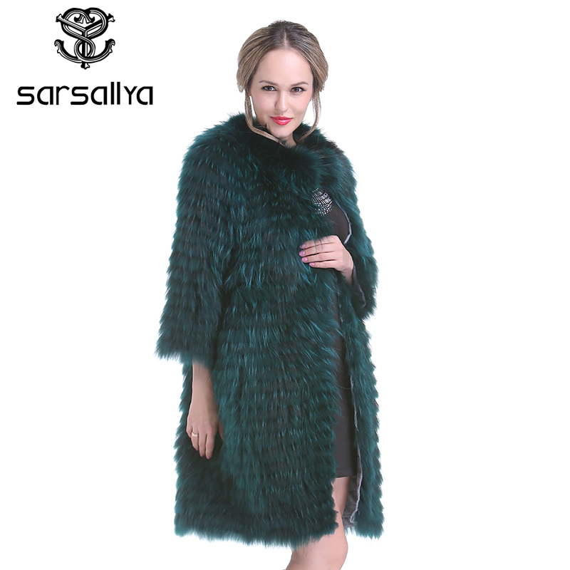 SARSALLYA New winter Women Real Silver Fox Fur Coats Fashion Fur Jacket Striped Style Overcoat Women