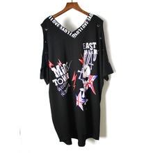 Летняя новая модная футболка в стиле панк-рок с принтом черепа, с открытыми плечами, с коротким рукавом, хлопок, плюс размер, женская одежда, топы