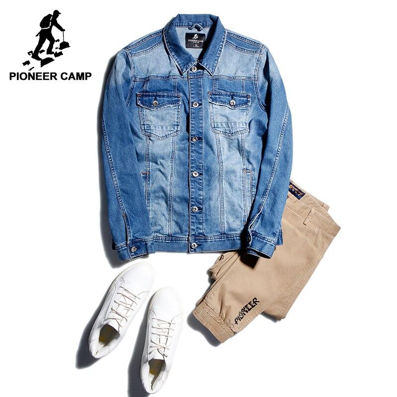 パイオニアキャンプ新しいデニムジャケット男性ブランド服ダークブルーカジュアルジーンズジャケットコート男性品質の上着男性AJK710008  グループ上の メンズ服 からの ジャケット の中 1