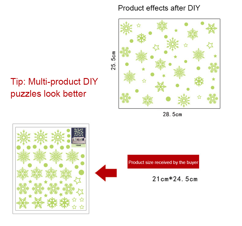 2019 New Year Merry Christmas Decorations for Home Luminous Snowflake Background Decorative Sticker Removable Navidad Natal (2)