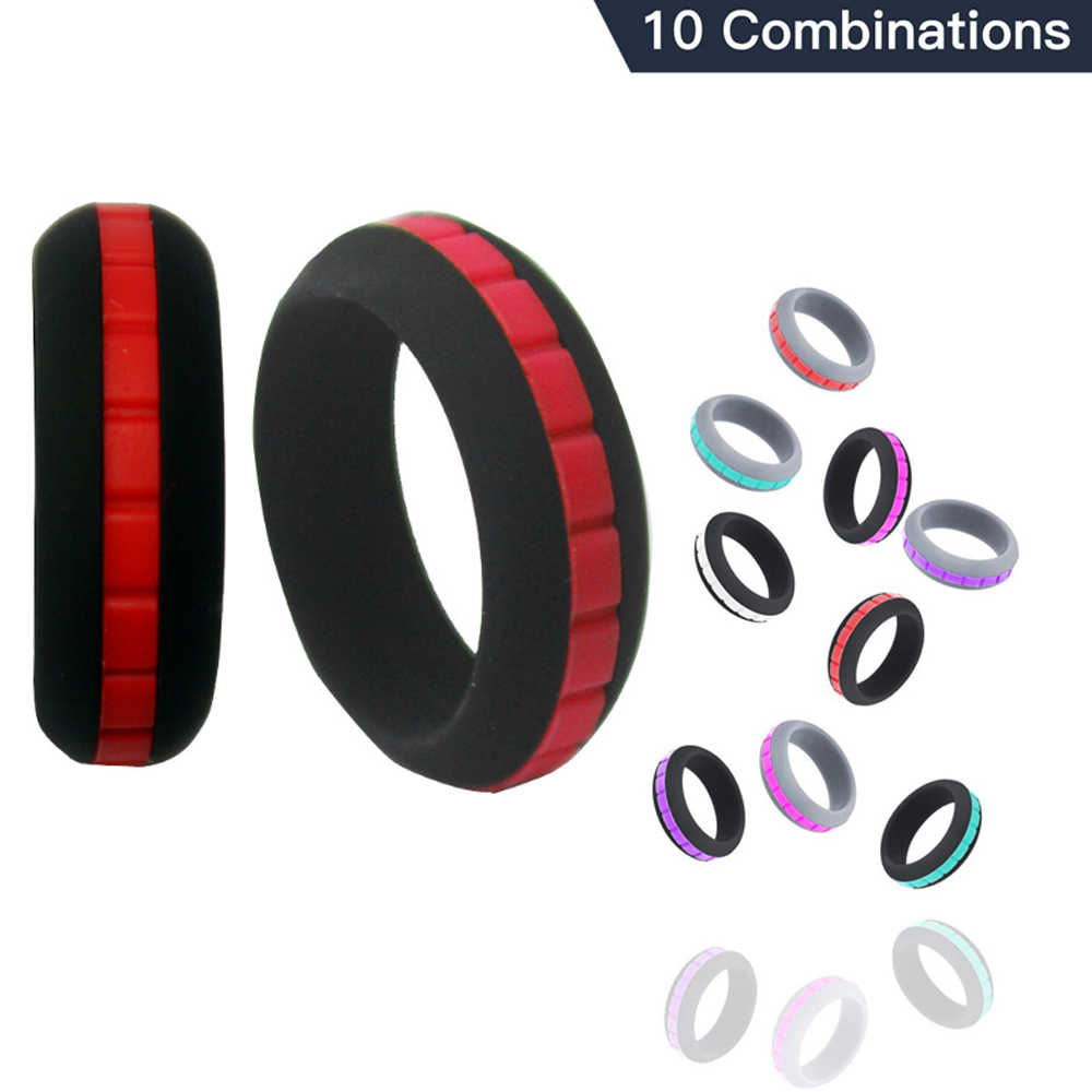 10Color Combinations Silicone Ring For Men Women Can DIY Change Color Hypoallergenic Crossfit Flexible Sports Rubber Finger Ring