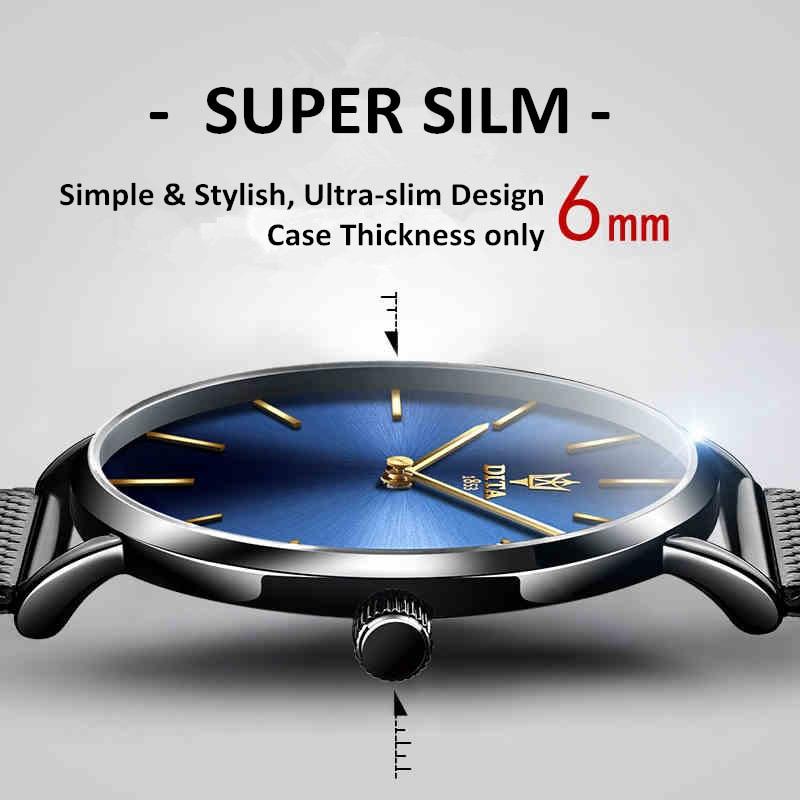 Ultrafino Moda Classic Simple Quartz Top Marca DITA Relojes Unisex - Relojes para hombres