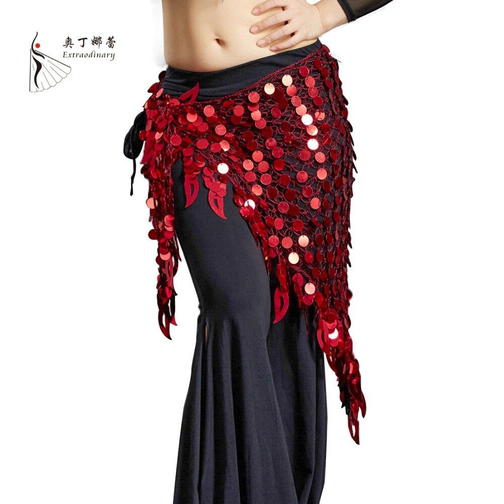 11 Colors Belly Dance Clothing Long Tassel Argentina Triangle Belt Hand Crochet Women Belly Dance Hip Scarf Coins Belt