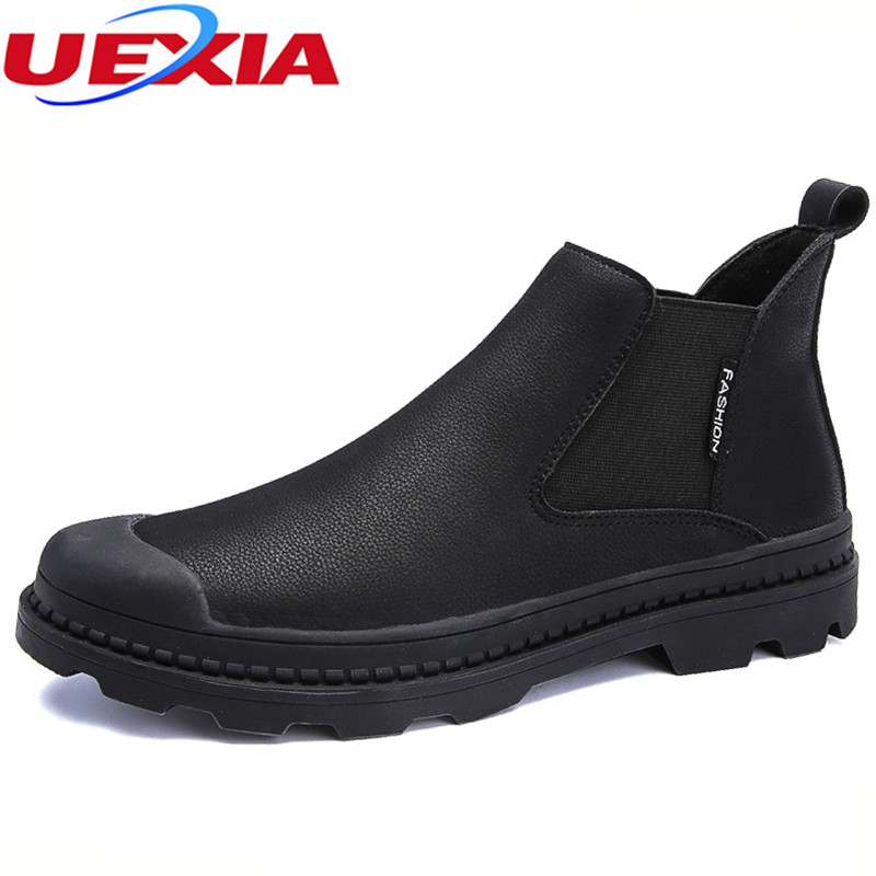 UEXIA High Quality Elastic band Anti collision toe Leather font b Shoes b font Men Flats