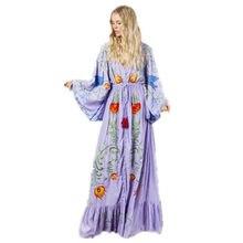 ba4d207ab6b Retro traje de mujer Ete Verano de 2019 mujeres blanco Hippie Boho Maxi  Vestido largo de cuello en V División Vintage bordado Fl..