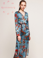 EASYSMALL sexy Bathrobe Morning Gown Female Bride Summer Thin Silk Silk Pajamas Sexy Silk Satin Nightgown Spring and Autumn