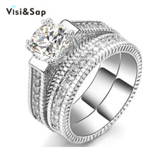Vissap New Hot White Gold Plated rings for women engagement bijoux lady vintage luxury Jewelry wedding ring Wholesale VSR121
