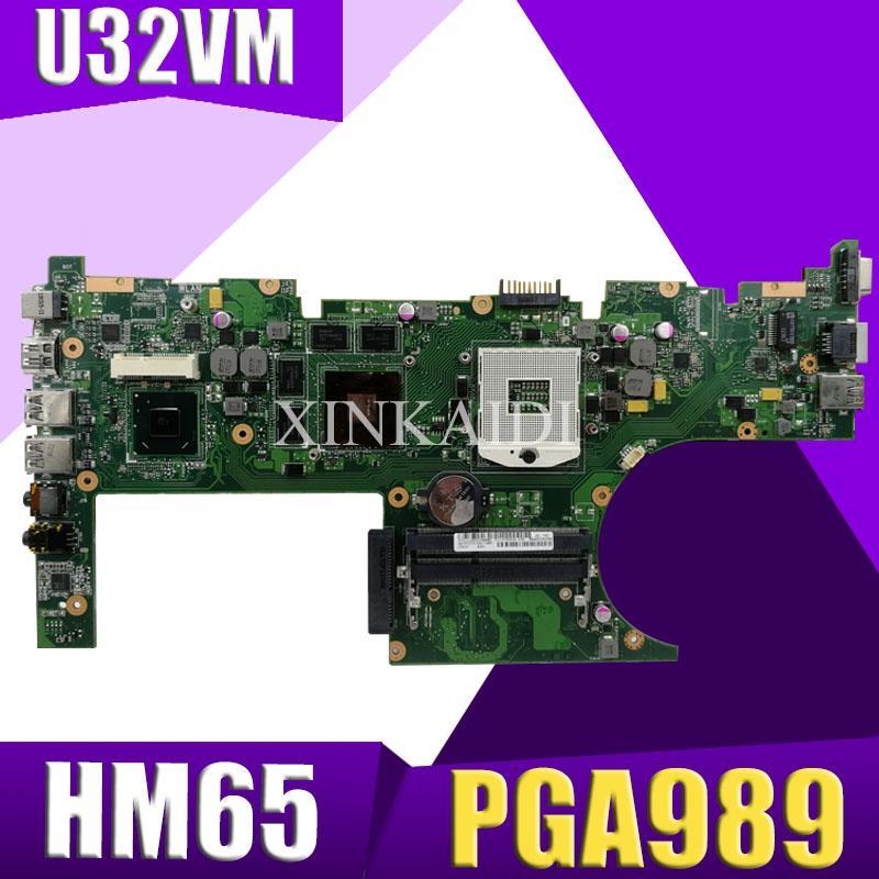 XinKaidi  U32VM Laptop motherboard for ASUS U32VM U32V U32 Test original mainboard HM65 PGA989 2GB video cardXinKaidi  U32VM Laptop motherboard for ASUS U32VM U32V U32 Test original mainboard HM65 PGA989 2GB video card