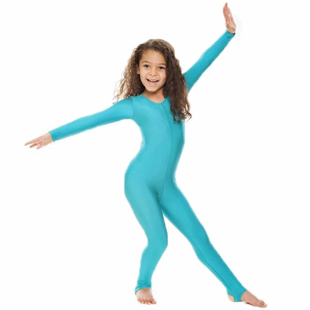 SPEERISE ילדים ארוך שרוול ריקוד התעמלות מחליפות שחיית בגד גוף ארכובה ניילון לייקרה ריקוד בנות להראות שלב ללבוש בגד גוף
