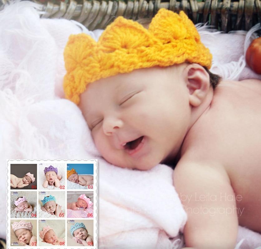 Free Shipping Crown Crocheted Baby Photography Props Cute Baby Hat Soft Cap Baby Baby Headband Crochet Neonatal Headdress