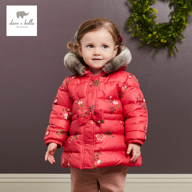 bc5c7ab25 DB3763 dave bella baby girl pink rose flower coat padded outerwear ...