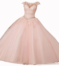 Gorgeous 2019 Quinceanera Dresses Blush Pink Cap Sleeve Appliques Lace Sequins Beaded Ball Gown Sweet 16 prom