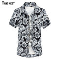 TANGNEST Men Clearance Sale Shirt Summer Men's Casual Short Sleeve Shirt Print Turn-down Slim Asian Size Shirt MCS179
