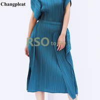 Changpleat 2019 Spring Summer New Women Skirts Miyak Pleated Fashion Design elastic waist irregular Solid Female Skirt Tide S980