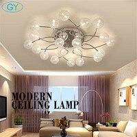 AC220 240V Modern Lutres Lamp Clear Globe Ball Glass Lampshade G4 LED Ceiling Lights Living Room