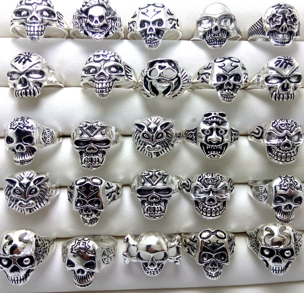wholesale 50pcs mix wide men/'s biker stainless steel fashion jewellery rings