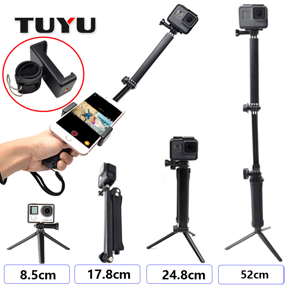 TUYU GoPro Accessories 3-way Monopod Adjustable Bracket Bracket Handle Hero6 / 5 4 3+ Tripod Phone Holder SJCAM SJ4000 EKEN H9
