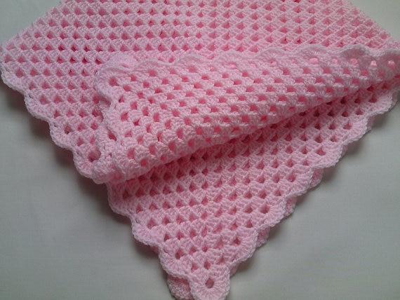 Crochet Baby Blanket and Hat Set, Nursery Bedding christening baptism gift afghan,deken, colcha , coperta, Babydecke, manta