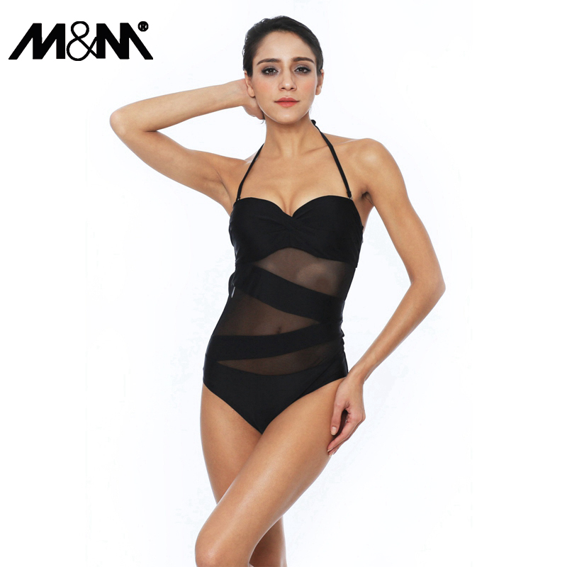 M&M Sexy Lace One Piece Swimsuit Women 2017 Push Up Black Mesh Bathing Suits Female Halter Top Beach Swim Wear Monokini Bodysuit