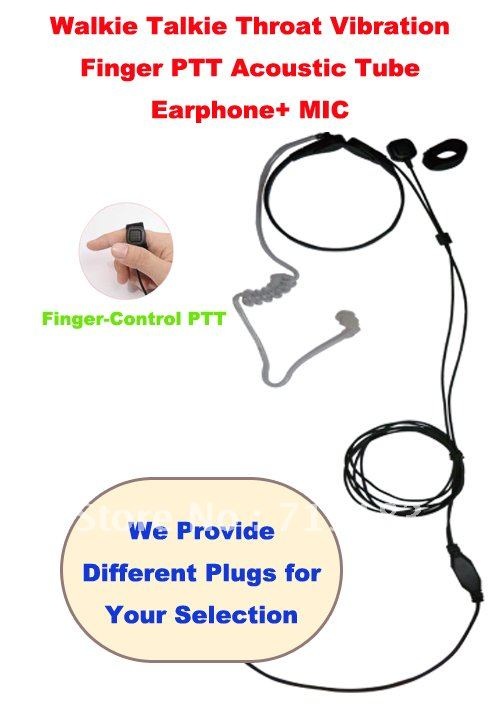 Free Shipping Good Quality Walkie Talkie Throat Vibration Finger PTT Acoustic Tube Earphone MIC Different Plugs