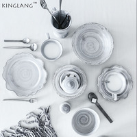 KINGLANG western designed 2 person dinner set ceramic royal dinnerware set porcelain material