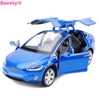 [Bainily] High Simulation 1:32 Alloy Car Model Tesla MODEL X90 Flashing Sound Metal Diecasts Toy Vehicles Pull Back Kids Toys