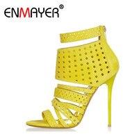 ENMAYER Sexy Supper High Heels Peep Toe Zipper Ankle Strap Shoes Woman Gladiator Summer Sandals Pumps