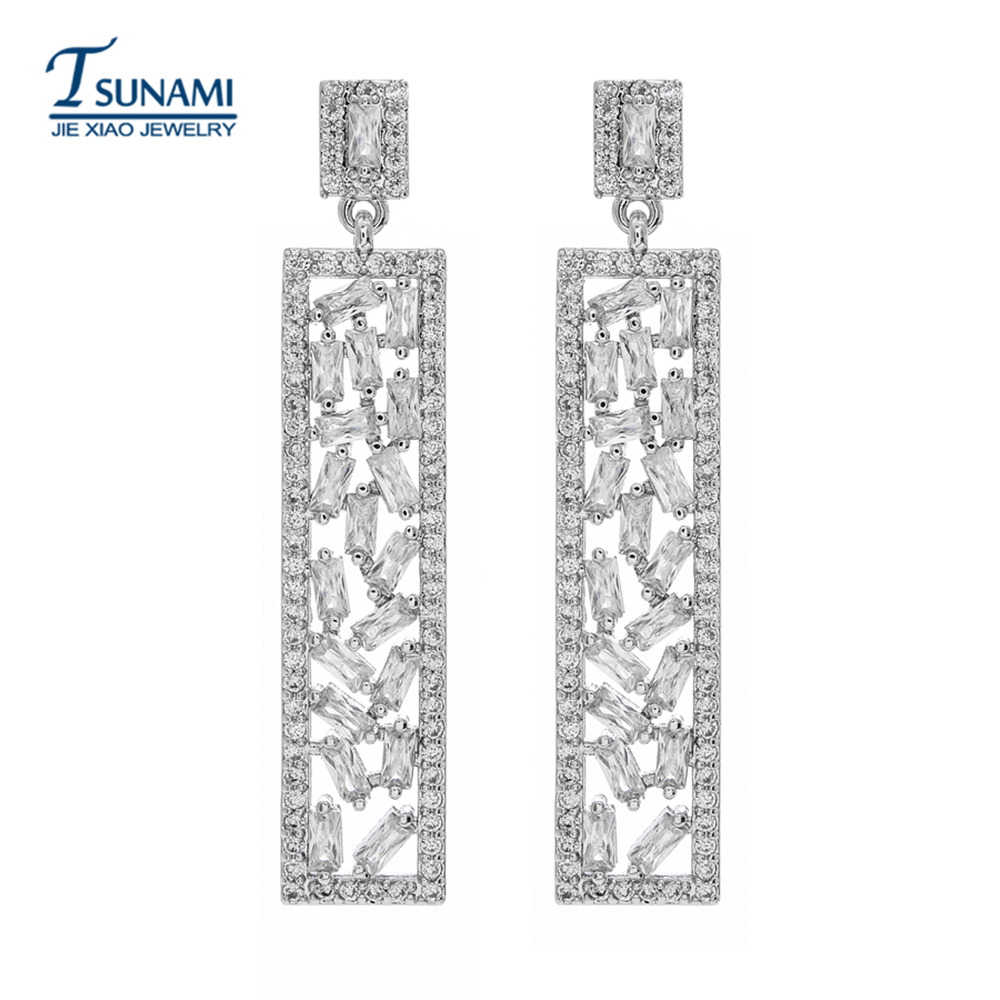 Luxury fashion rectangle AAA zircon earrings It's the best jewelry stud for female friends at all occasions ER-153