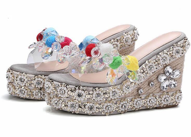 где купить summer newest rainbow crystal embellished wedge slippers sexy open toe platform slides handmade PVC patchwork pom pom sandal по лучшей цене