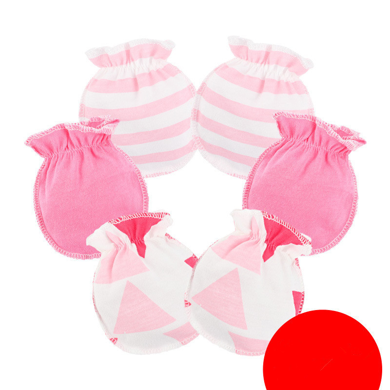 3 Pairs Anti-grasping Gloves Newborn Protection Face Cotton Anti Scratching Gloves Thin Mittens for Baby