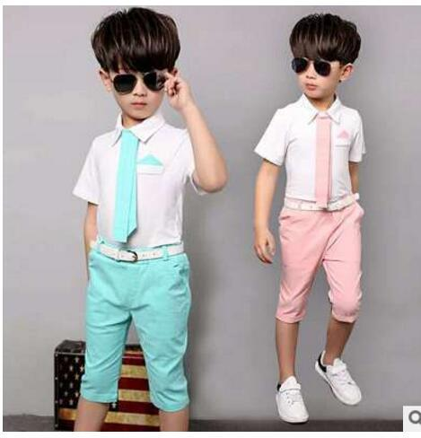 1a425b6aded41 2016 Children s suits baby boy suit suit dress suit shirt tie + pants suit  two sets 1-5 years old free shipping 2 color