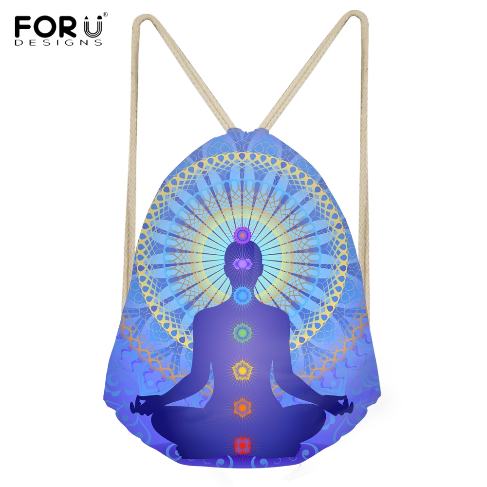 FORUDESIGNS Indian Chakras Pattern Woman Drawstrings Bags Casual Large Storage Backpacks For Girls Softback Beach Bags Sack Bag