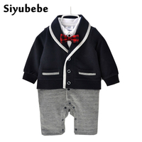 Newborn Baby Clothes Winter Baby Boy Clothes Cotton Romper Jumpsuit Gentleman Costume Baby Rompers Infant Boy
