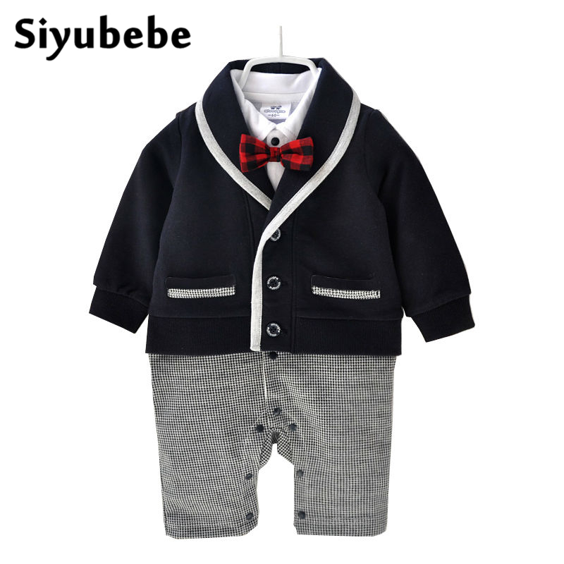 Newborn Baby Clothes Winter Baby Boy Clothes Cotton Romper Jumpsuit Gentleman Costume Baby Rompers Infant Boy Clothes 0 12M