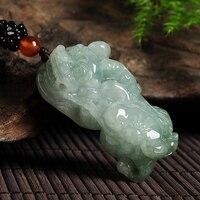 Natural A cargo light green jadeite pendants genuine Myanmar jade pendant men and women models jade necklace ABP0817