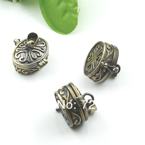 Винтаж Античная бронзовая Матовый Молитва Желание Locket фото коробки Рамки кулон Талисманы оптовый
