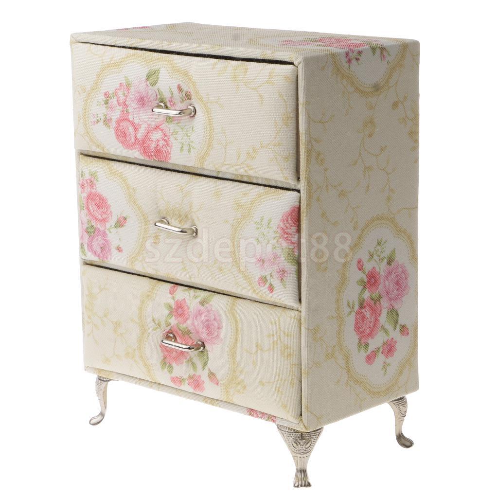 Vintage Flower Print Mini Furniture Jewelry Storage Box Case Organizer Container Gift Decor недорго, оригинальная цена