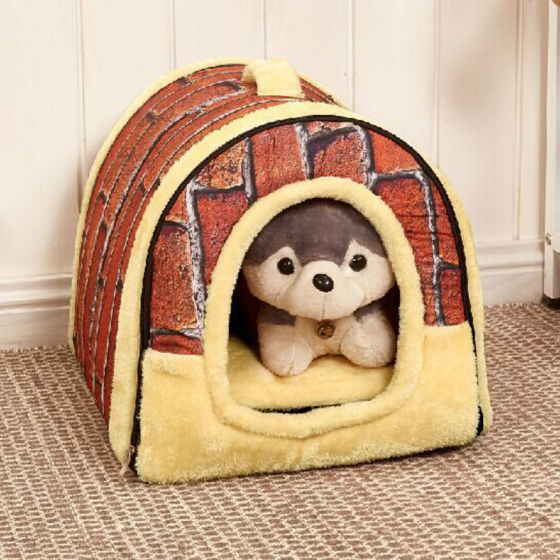 2 in 1 Pet Dog Bed Cat House Kennel Nest Mat Foldable Portable Removable Sofa For Travel Walking Small Medium Dogs Bag Product