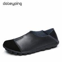 Dobeyping novos sapatos femininos de couro genuíno macio apartamentos mulher antiderrapante mocassins casual deslizamento no barco sapato senhoras tamanho 35 43