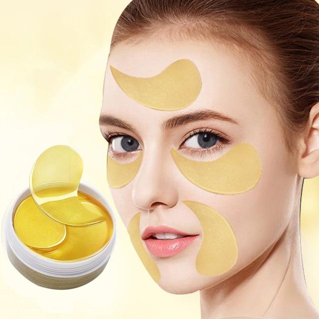 24K Gold Eye Masks 60pcs Collagen Eye Mask Ageless Sleep Mask Hydrogel Eye Patches Pads Dark Circles Moisturizing Face Mask Care 2