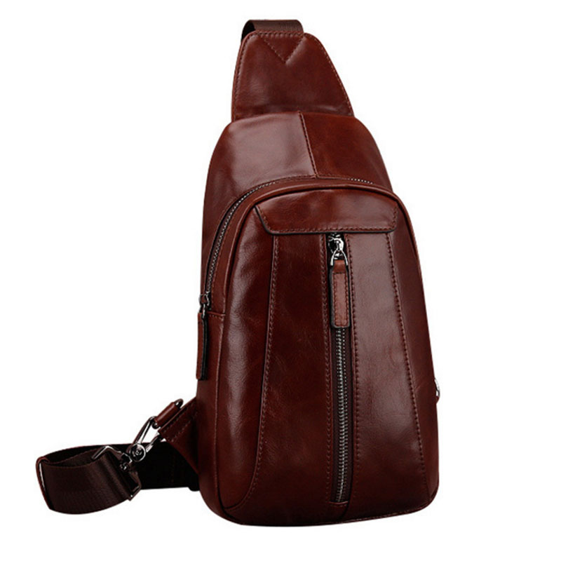 Men High Quality Genuine Leather First Layer Cowhide Sling Chest Bag Vintage Travel Messenger Shoulder Cross body Bag
